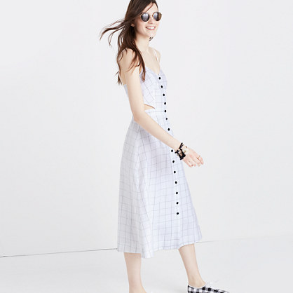 Windowpane Cutout Cami Midi Dress