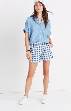 Pull-On Shorts in Gingham Check
