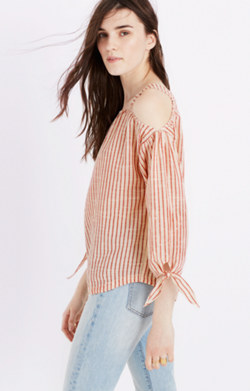 Cold-Shoulder Top in Red Stripe