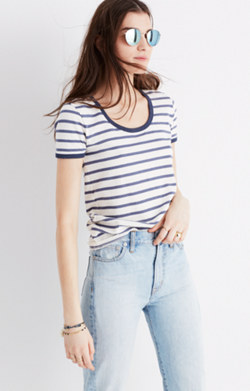 Recycled Cotton Ringer Tee in Harmon Stripe