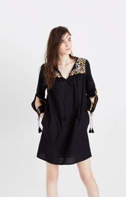 Embroidered Slit-Sleeve Dress