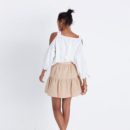 Khaki Ruffle-Hem Skirt
