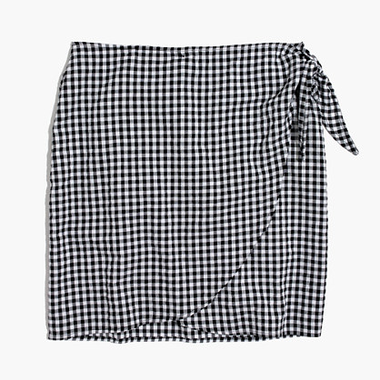 Gingham Side-Tie Skirt