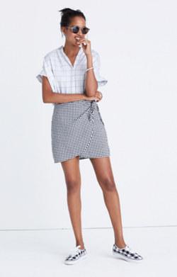 Gingham Side-Tie Skirt