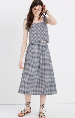 Side-Button Skirt in Gingham Check