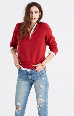 Rivet & Thread Distressed Half-Zip Sweatshirt
