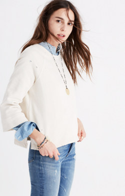 Rivet & Thread Distressed Bell-Sleeve Sweatshirt
