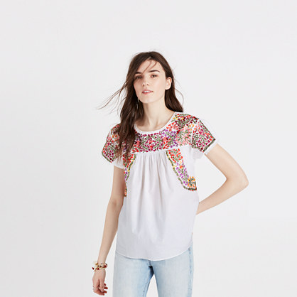Embroidered Springtime Top in Eyelet White