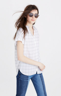 Central Shirt in Windowpane Plaid