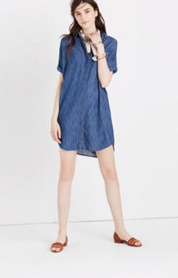 Denim Courier Shirtdress in Nora Wash