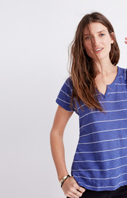 Choral Split-Neck Tee in Gornick Stripe