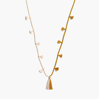 Two-Tone Beaded Tassel Necklace