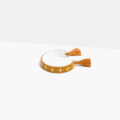 Tassel-Trimmed Beaded Cuff Bracelet