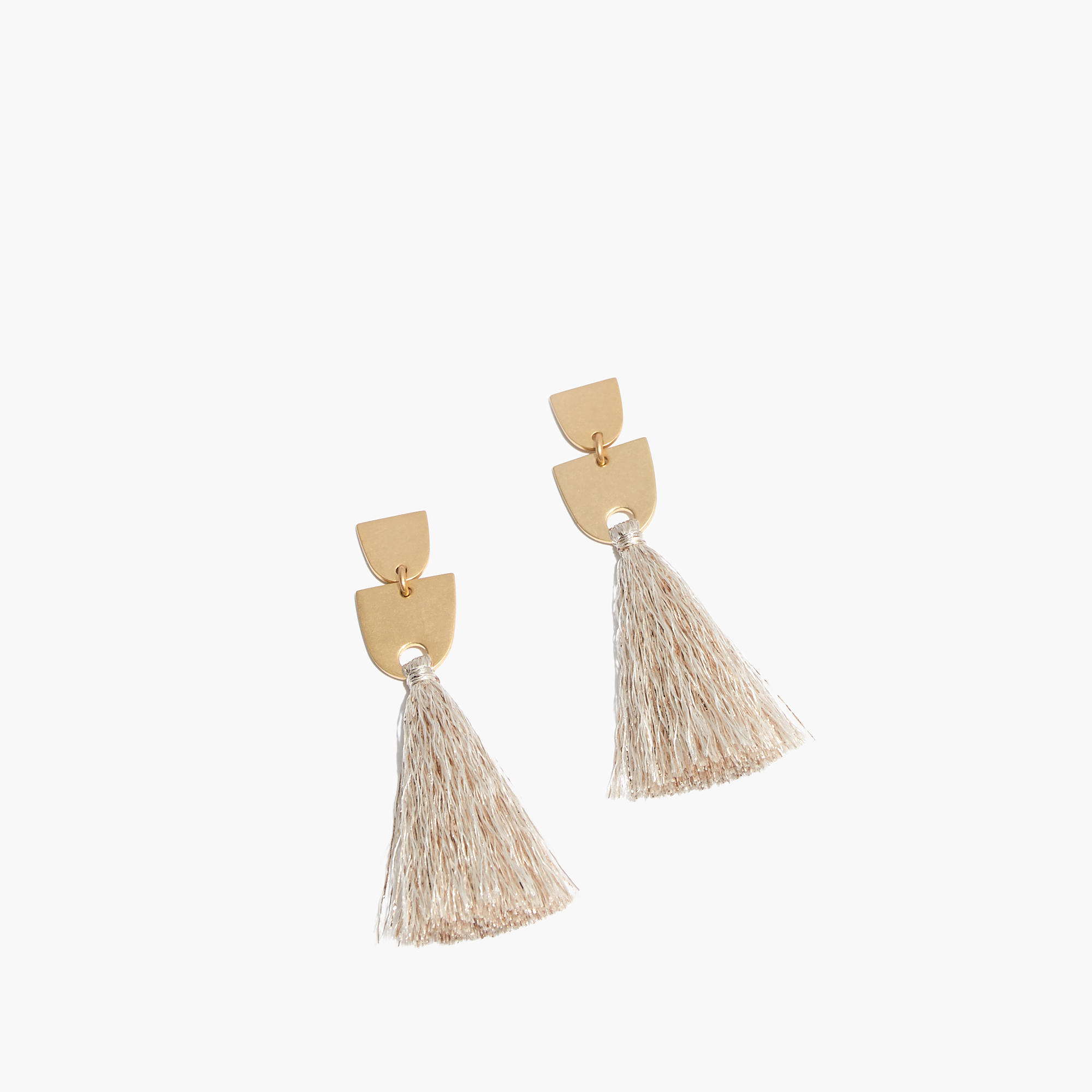 earrings with tassel leather cap tassle gold camel product