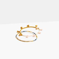 Two-Pack Beaded Tassel Bracelets in Cumin