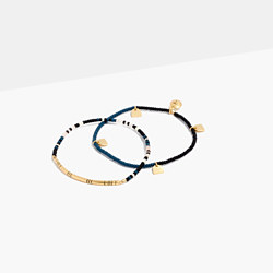 Two-Pack Beaded Tassel Bracelets in Blue