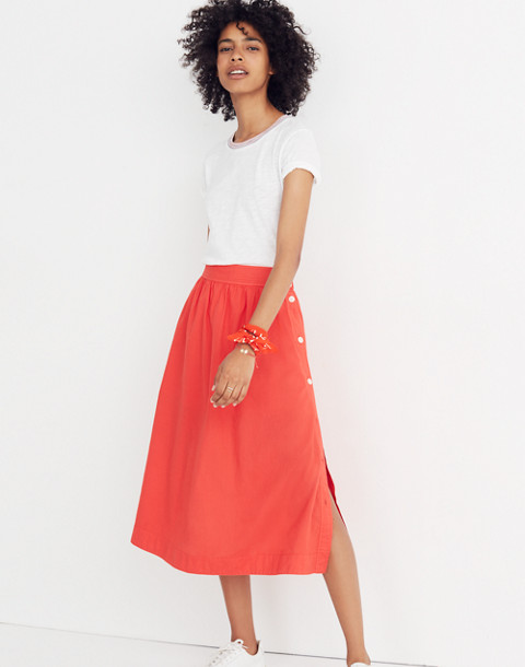 Side-Button Skirt in ripe persimmon image 2