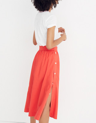 Side-Button Skirt in ripe persimmon image 3