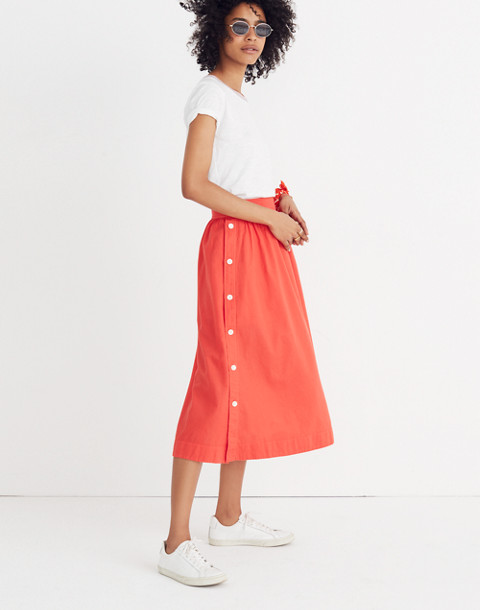 Side-Button Skirt in ripe persimmon image 1