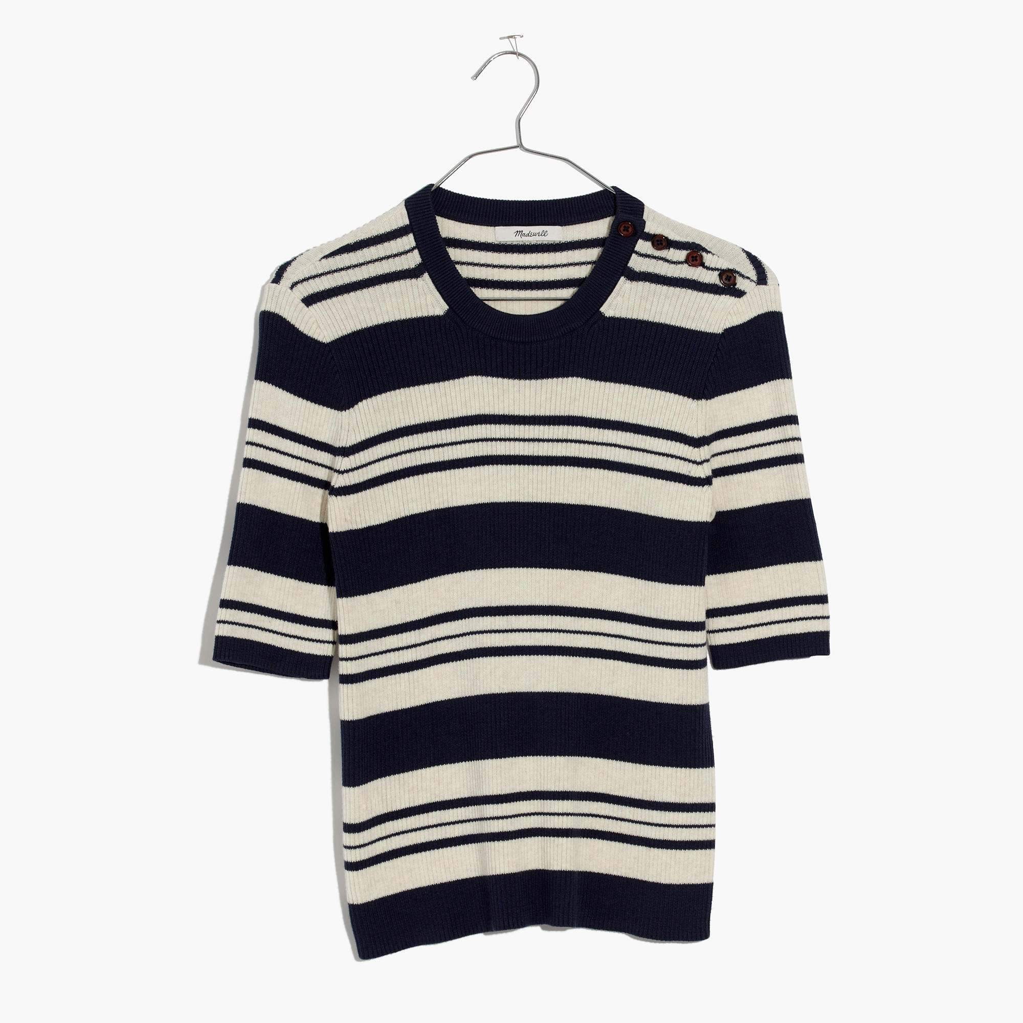 Ribbed Sweater Top in Stripe : | Madewell