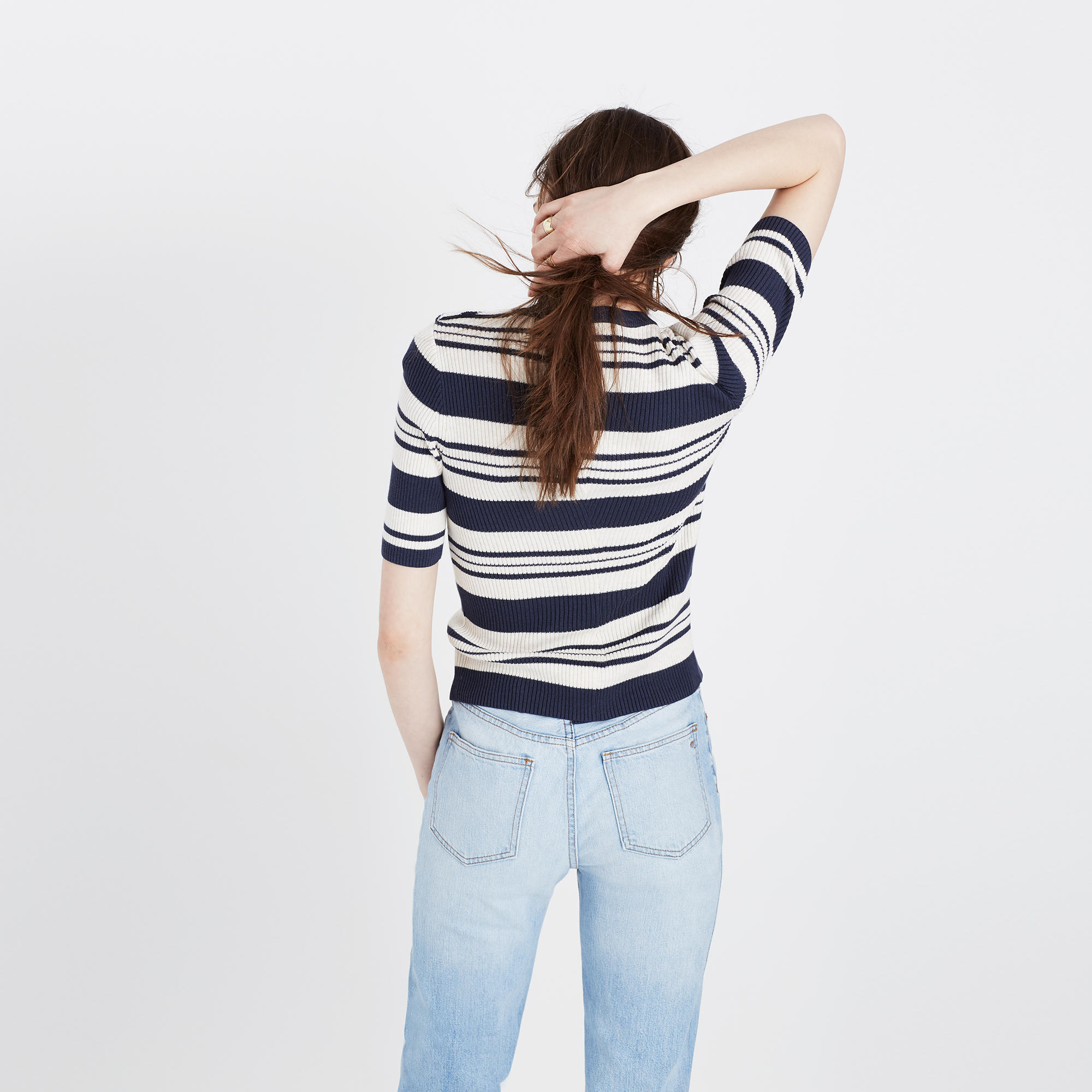 Ribbed Sweater Top in Stripe : sleeveless & short sleeve | Madewell