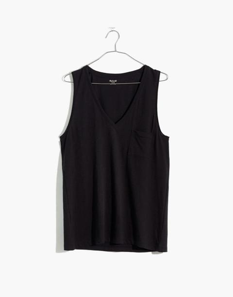 Whisper Cotton V-Neck Pocket Tank in true black image 1