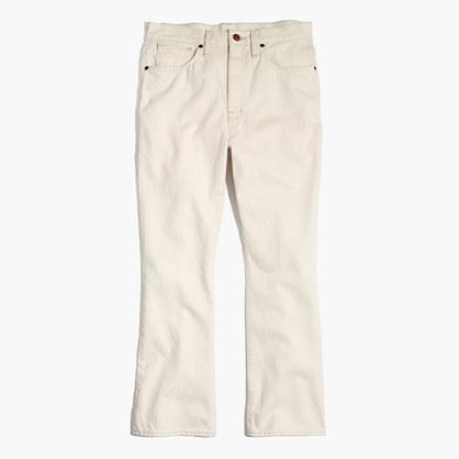 Retro Crop Bootcut Jeans in Ecru Wash