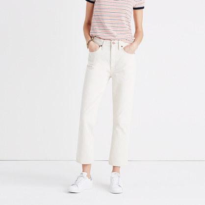 Retro Crop Bootcut Jeans in Ecru Wash