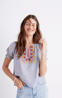 Embroidered Penny Peasant Top