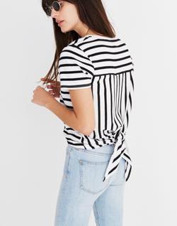 Striped Tie-Back Tee