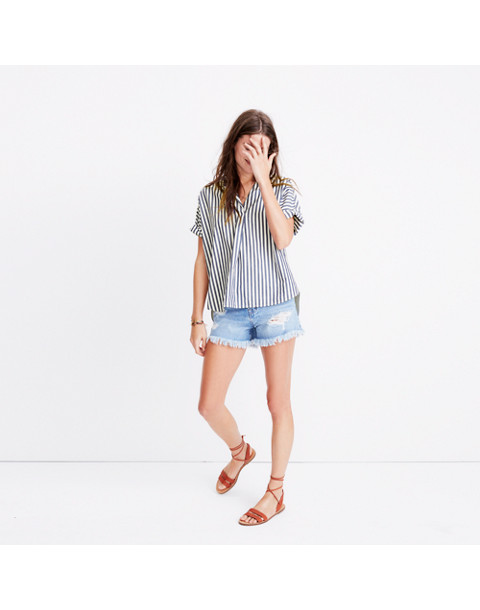 Courier Button-Back Shirt in Stripe Mix