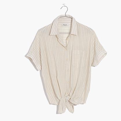 Short-Sleeve Tie-Front Top in Irene Stripe