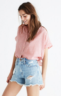 Central Tie-Back Shirt in Rose Stripe