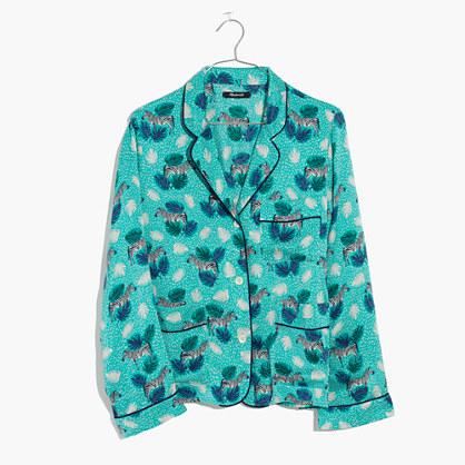 Silk Pajama Shirt in Zebra Print