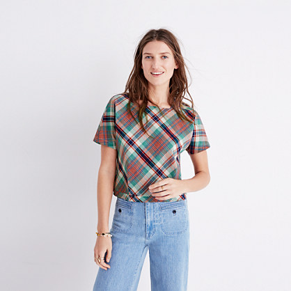 Plaid Tie-Back Top