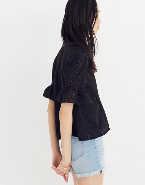 Eyelet Bell-Sleeve Shirt