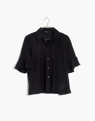 Eyelet Bell-Sleeve Shirt in true black image 4