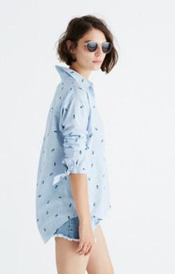 Shrunken Trapeze Shirt in Pineapple Print