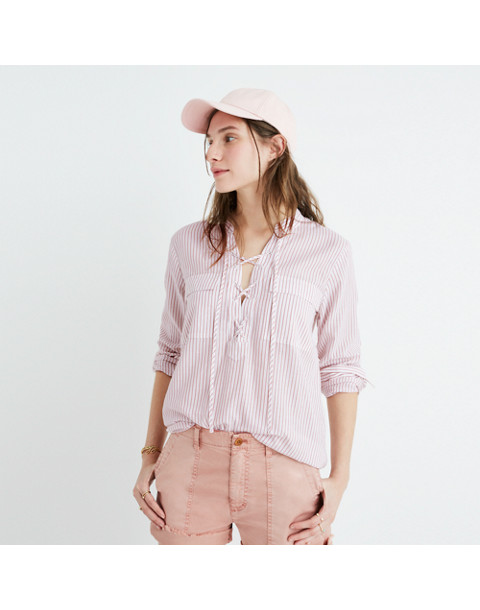 Terrace Lace-Up Shirt in Vera Stripe
