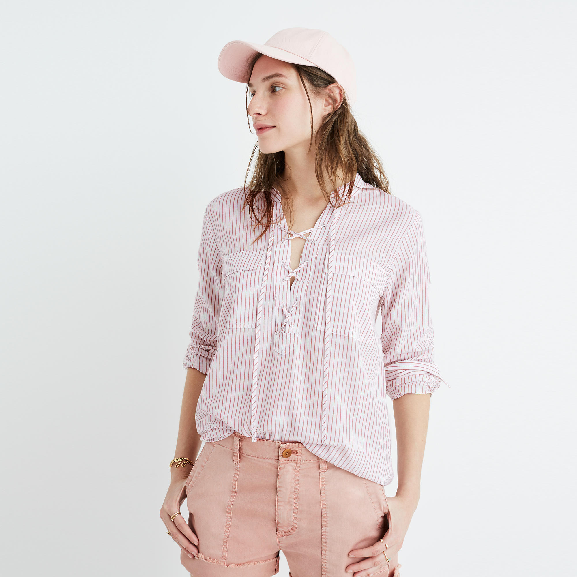 terrace laceup shirt in vera stripe buttonup u0026 popover shirts madewell