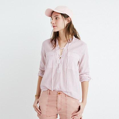 Terrace Lace-Up Shirt in Vera Stripe
