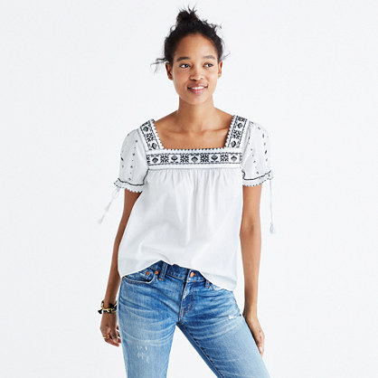 Embroidered La Villa Peasant Top