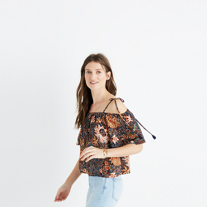 Silk Cold-Shoulder Top in Sea Floral