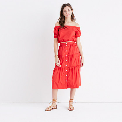 Off-the-Shoulder Bubble Top in True Red