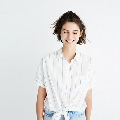 Short-Sleeve Tie-Front Shirt in Abbi Stripe