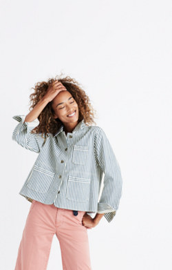 Shrunken Workwear Jacket in Poppy Stripe