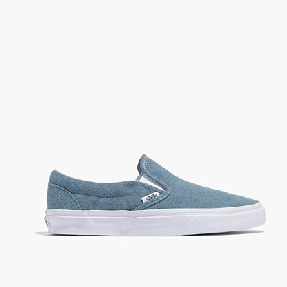 Madewell x Vans® Unisex Classic Slip-On Sneakers in Washed Denim