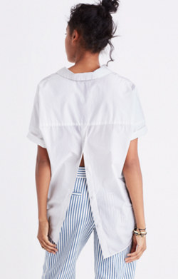 Courier Button-Back Shirt in Eyelet White