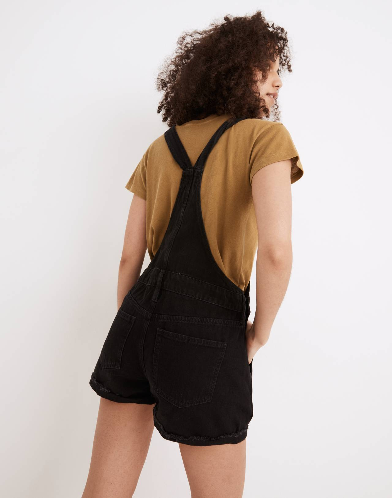 Adirondack Short Overalls in Washed Black in washed black image 3