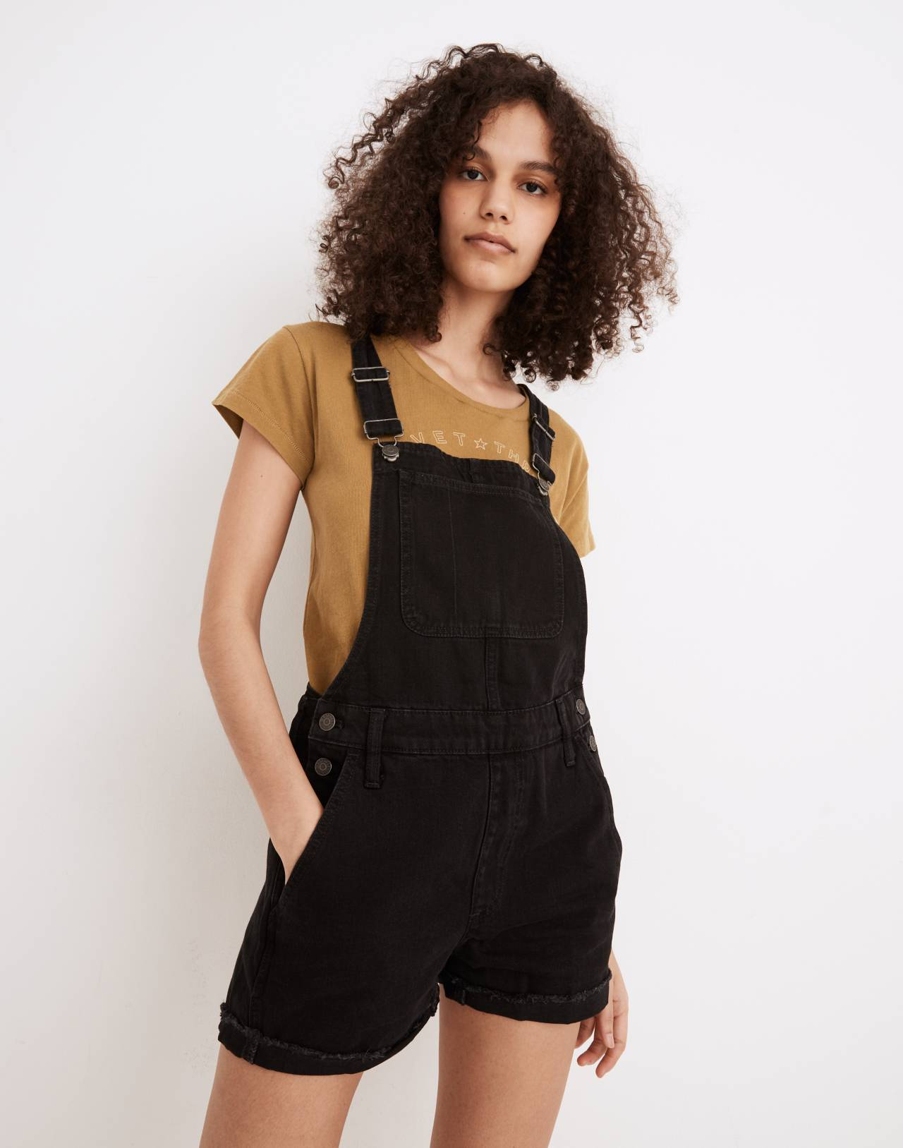 Adirondack Short Overalls in Washed Black in washed black image 1